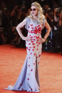 Singer Madonna arrives for the premiere of her movie W.E. at the 68th edition of the Venice Film Festival in Venice, Italy, Thursday, Sept. 1, 2011. (AP Photo/Andrew Medichini)